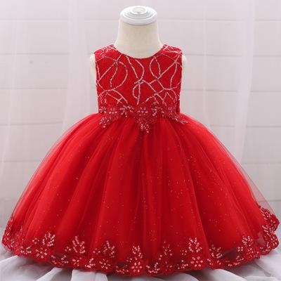 baby girls Christening dresses infant Cotton kids toddler newborn princess clothes Baby skirt baby sequin wedding birthday clothing toddler