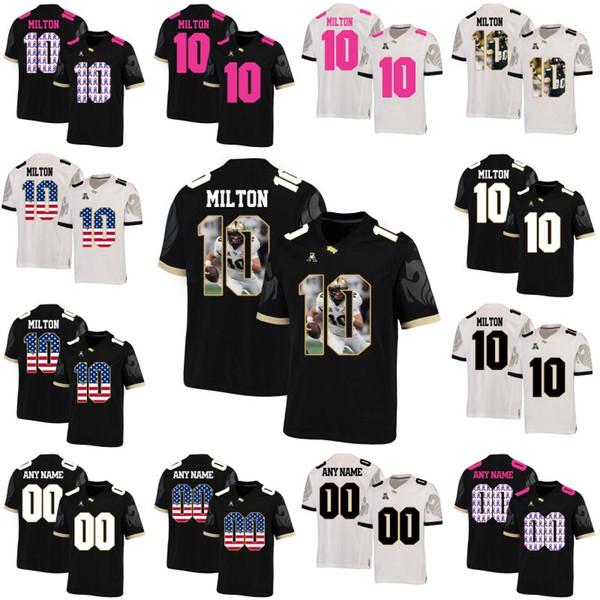 Magliette UCF Knights 10 McKenzie Milton NCAA College Football Uomo Donna Youth Personalizzabili Doppia cucita