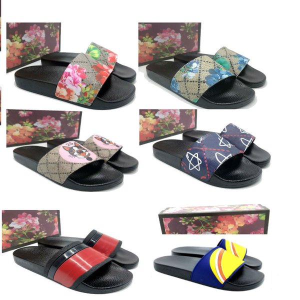 2019 Big size 35-48 flower Black Rubber Slide Slippers Green Red White Stripe Fashion Design Men Women with Box Classicflat