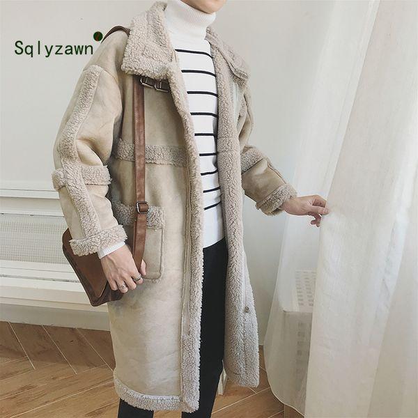 Neue männer Wolle Wildleder Warme Winter Graben X-Lange Outwear Mantel Lammfell Winddichte Wolljacke Männer Warme Paar Teddy Mantel