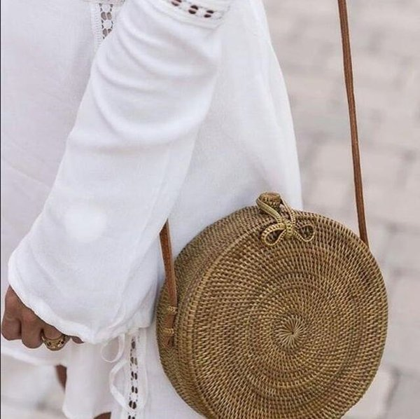 INS Popular 2018 hot sale Vietnam Hand Woven Bag Round Rattan Straw Bags Bohemia Style Beach Circle Bag free shipping #34595