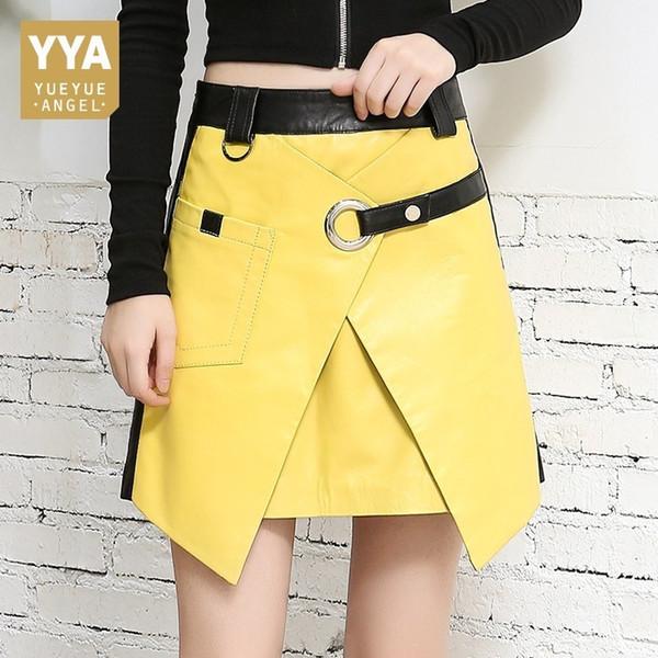 2019 Otoño Invierno Nuevo Cuero Genuino Amarillo A-line Faldas Mujeres Delgado Harajuku 100% Cuero de Oveja Sexy Mini Faldas Streetwear J190515