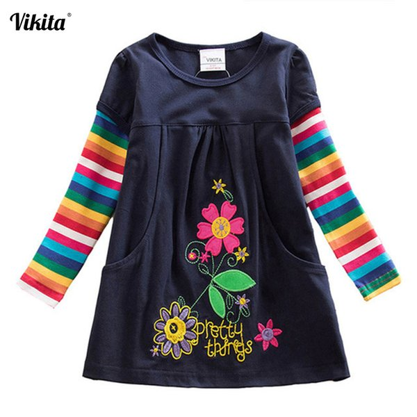 Vikita Girl Dresses Baby Dress Butterfly Rainbow Children Long Sleeve Clothes Girls Patchowrk Infant Vestidos 2-8y Lh5805 Q190604