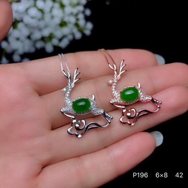 S925 gümüş doğal yeşil jasper gem kolye doğal taş kolye Zarif Güzel geyik kadın kız parti hediye güzel takı