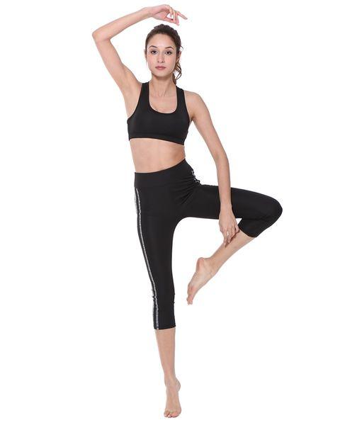BELLEZIVA Set da 2 pezzi senza maniche a righe Set da ginnastica Running Set da yoga Micro-Elastico Ropa Deportiva Mujer Gym Sportswear # 74114
