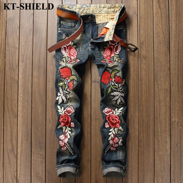 Mens Fashion Jeans Brand Designer Rose Embroidery Denim Trousers Biker Ripped Jeans for Men Distressed Pants European style