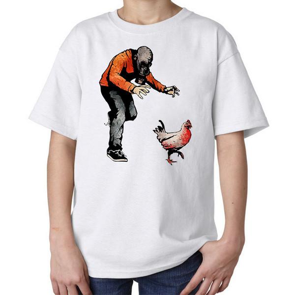 Maschera mascherata Chasing Chicken Funny Kids T-shirt bianca unisex XS-XL t-shirt da cosplay di fegato