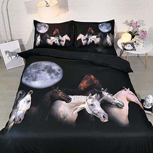 Kızlar Için at Yatak Ikiz Yatak Nevresim Kraliçe Fermuar Kapatma Siyah Yatak Örtüsü Yatak Örtüsü Set Kral HIÇBIR Yorgan 3 adet Pillowshams