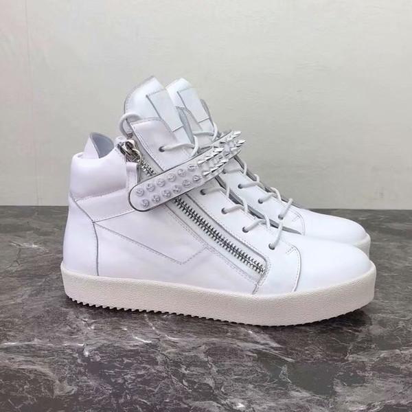 Новые 2019 мужчины женщины белая кожа с шипами ремень двойные молнии высокие кроссовки, бренд высокого качества квартиры кристалл причинно-следственная обувь плюс размер 35-46