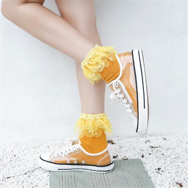 Fashion women lace pearl ankle socks candy color Short Tube Elastic Socks summer Funny princess Pile of Teenage USA