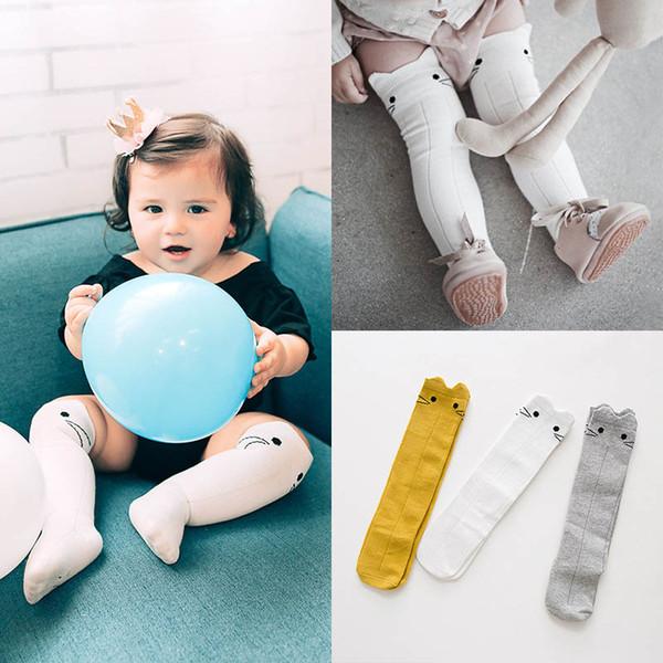 2019 Novas Meias Bebê bonito coelho Infantil Malha Do Joelho Meias Altas da Criança Meias Bebê Meninas Meias de Algodão Casuais Meia recém-nascida roupas de bebê A3668