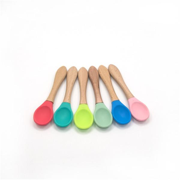 Bébé Bamboo formation Cuiller Tip silicone alimentation bébé doux organique cuillère Scoop Easy Grip poignée en bas âge Cadeaux pour bébé en gros ZFJ665