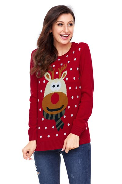 2019 High-quality fashion Europe and the United States new large size bottoming round neck wild long-sleeved women's Christmas sweater