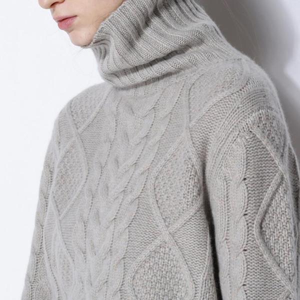Compre Suéter De Invierno Mujer Cuello Alto Suéter De Cachemira ...
