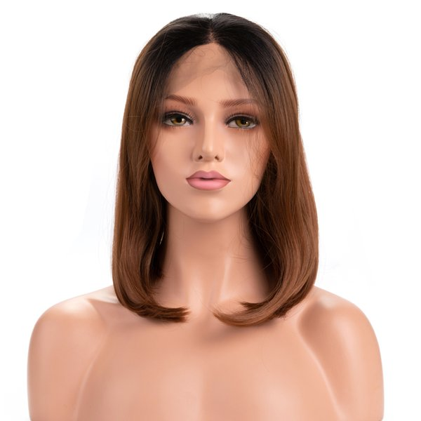 Top Quality Ombre Brown Wig 14 Inches Black Roots Short Bob Straight Lace Front Wig Natural Hairline Synthetic Wigs for Women Real Picture