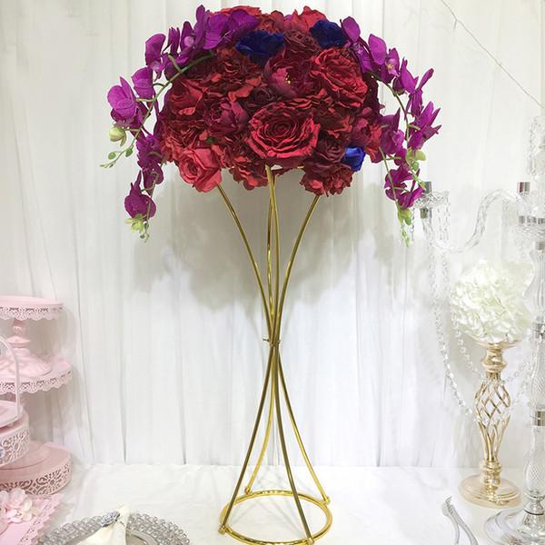 10pcs / lot 80cm vase porte stand floral 100cm table de trompette en métal couleur or fleur pour pièces maîtresses décoration événement de mariage