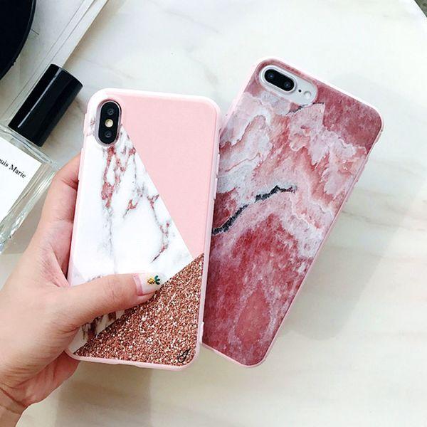 Designer de luxo 3d mármore rose gold phone case capa para iphone x xs max xr 7 6 6 s 8 plus eu phone 8 plus 7 plus belas caixas de silício coque