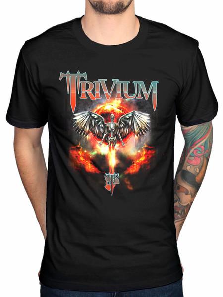 Dünyayı izliyor Trivium Yanık erkek T-Shirt BlackFunny ücretsiz kargo Unisex Rahat Tişört üst