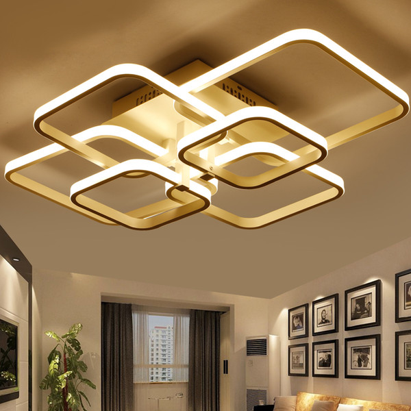 Moderno AC85-265V remoto Cotrol LED araña Anillos cuadrados araña para sala de estar dormitorio accesorios de iluminación para el hogar