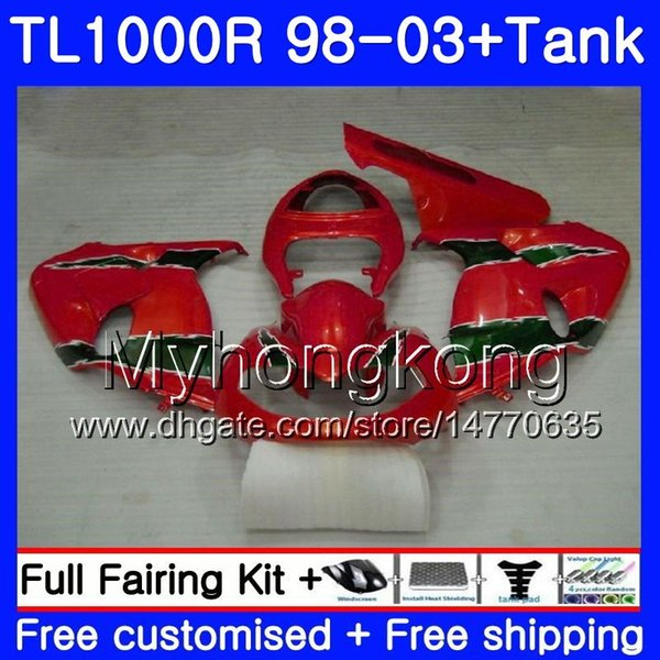 +Tank For SUZUKI SRAD TL 1000 R TL1000R 98 99 00 01 02 03 Red green glossy 304HM.34 TL1000 R TL 1000R 1998 1999 2000 2001 2002 2003 Fairings