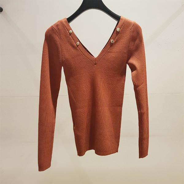 Elfwish Terracotta SWEATER TRIMMED WITH PRESS STUDS V-neck Openwork stitching Bust Long Sleeves Stretch Jersey Jumper