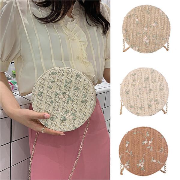 Fashion Women Wild Messenger Bag Women Shoulder Bag Small Round Crossbody Floral Woven round