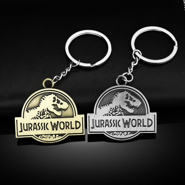 Movie Jurassic Park Dinosaur Key Chain Zinc Alloy Jurassic World Pendent Key Rings Classic Steampunk Horror Dinosaur Bag Car Keyring