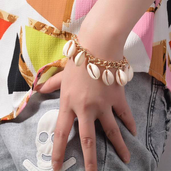 Bohemian Seashell Charme Bracelet Bijoux Vintage Main Mer Océan Coquillage Conch Perle Manchette En Métal Bracelets Bracelet pour Femmes