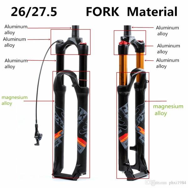 Magnesiumlegierung MTB Fahrrad Gabel Supension luftgabel 27,5 Zoll Mountainbike 32mm RL100mm Gabel Für Fahrrad Zubehör