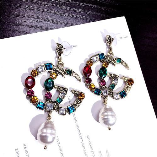 Upscale fashionable lady earrings, fashion brand color diamond earrings