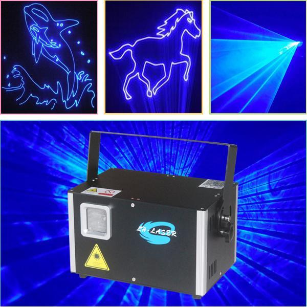 LH-SAB4000 DMX512 + Interfaz ILDA + Auto + Sonido 4W Logotipo de animación de color azul único espectáculo de luces láser luces de fiesta proyector láser