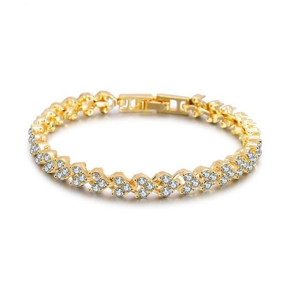 Hot Sale Fashion Delicate Charm Diamond Tennis Bracelet Crystal Women Jewelry 3 Colors Available Nickle Free