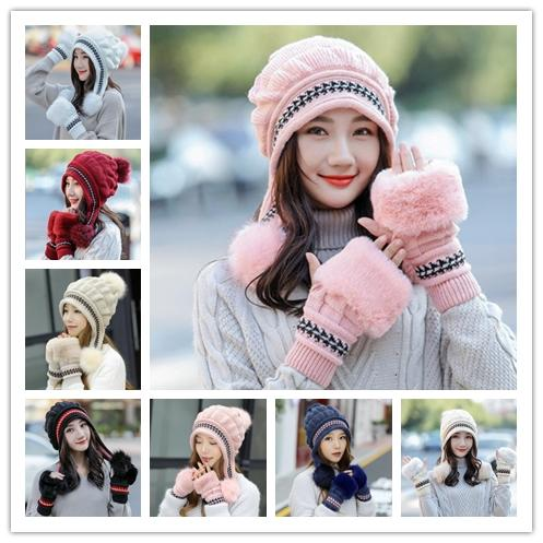 1Set Women Knit Hat Gloves Sets Skull Cap Solid Casual Pompom Beanie Suit Wool Caps Winter Outdoor Warm Hat Girlfriend Christmas Gifts