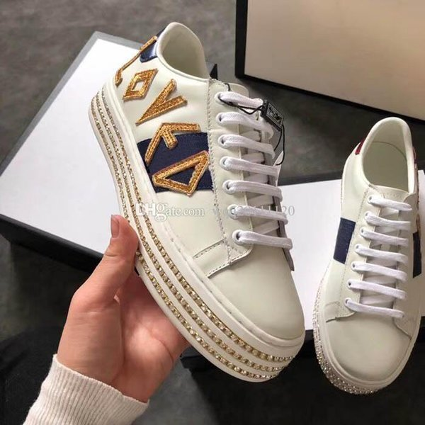 designer shoes with Genuine Leather casual shoes with Ribbon luxury designer sneaker for women dress shoes women sneakers with box