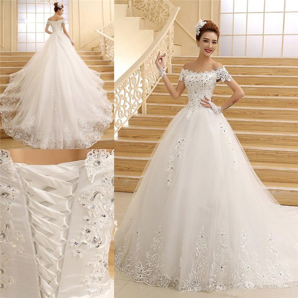 Sexy A line Off Shoulder Wedding Dresses 2019 Cap Sleeve Court Lace Up Back Plus Size Luxurious Wedding Gowns Custom Made
