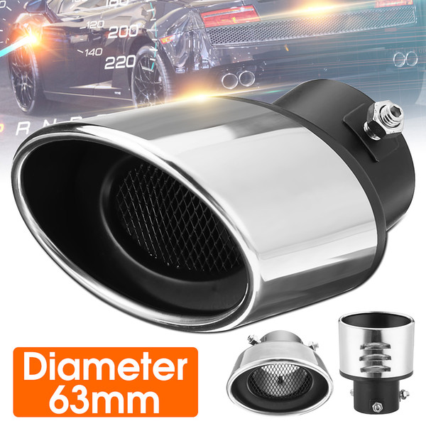 New 63mm Car Auto Chrome Exhaust Ppipe Grilled Shark Fin Stainless Steel Muffler Exhaust Tip End Tail Pipe Universal