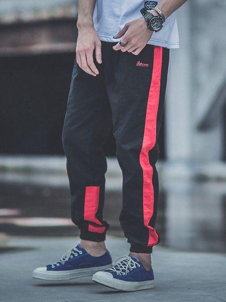 Estilo japonês Moda Corredores Calças Dos Homens Stripe Emendado Solto Fit Carga Calças hombre Streetwear Americano Hip Hop Harem Calças