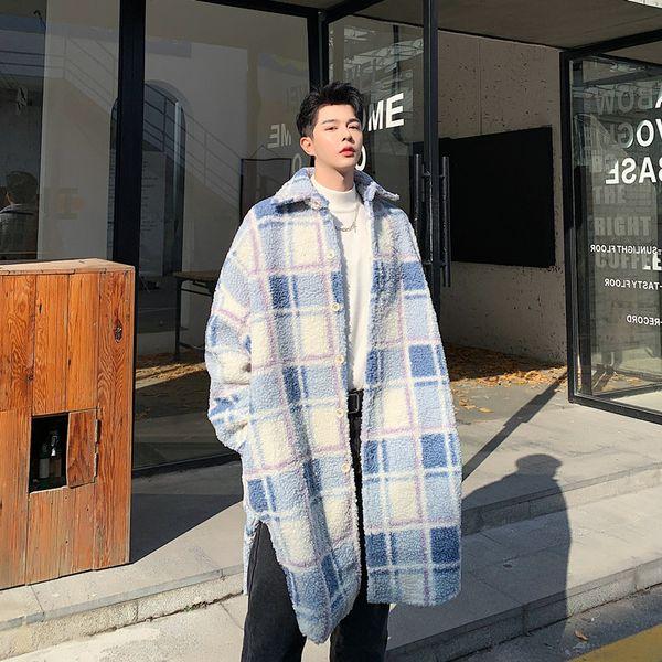 lamb fur coat men's fashion casual hit color long plaid jacket men streetwear wild loose windbreaker mens trench coat men