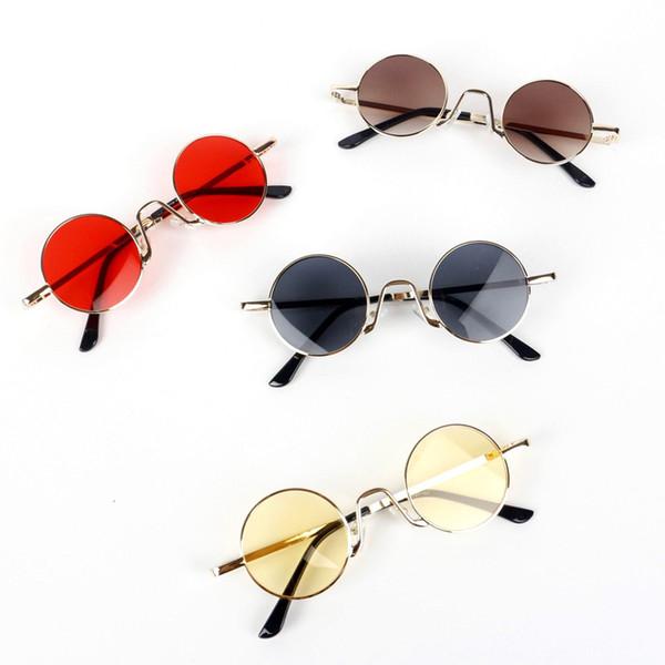Mode Kinder Runde Brille Mädchen Candy Farbe Objektiv Sonnenbrille Metallrahmen Sonnenschutz Gläser Jungen Reise Brillen TTA1024