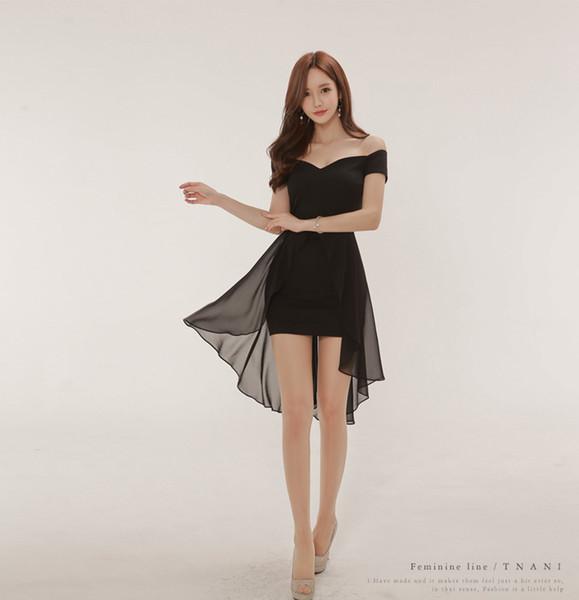 Hot Summer Wear Coreano Sexy Barra Pescoço Chiffon Splicing Swallow Cauda Vestido Hip Saia Preta A0086