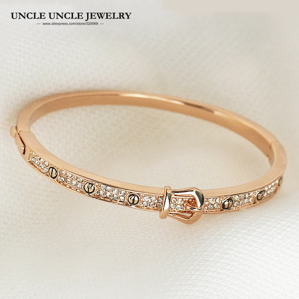 Brand Design Rose Gold Color Belt Style Rhinestones Setting Woman Bangle Bracelet Wholesale Fashion C19010401