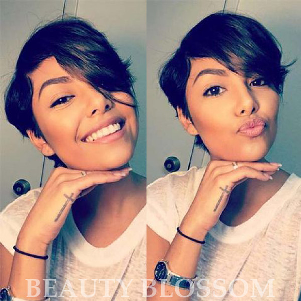 Short Cut little lace human bob wigs best human brazilian cheap wig with baby hair glueless wigs with Long bangs for black women
