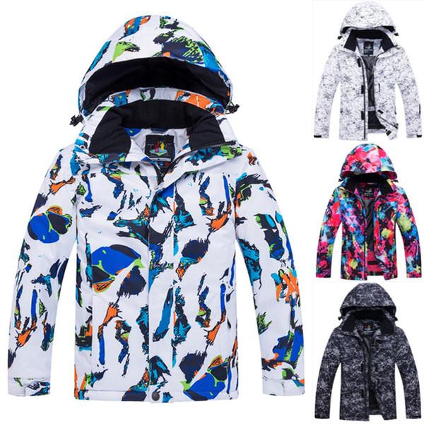 Çocuk Kayak Ceket Çocuklar Beyaz Graffito Snowboard Ceket Su Geçirmez Rüzgar Geçirmez Kış Çocuk Sıcak Kar Ceket Kış Coat