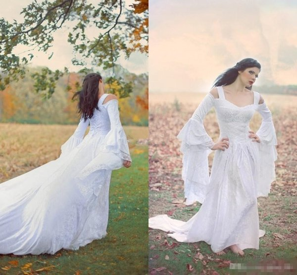 Hippie Fairy Medieval Lace Up Wedding Dresses Custom Off Shoulder Bell Long Sleeves A Line Court Train White Chiffon Lace Bridal Gowns