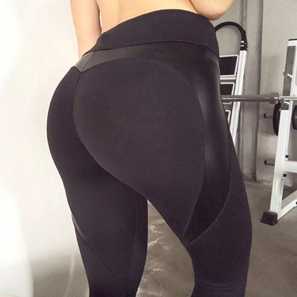 Leggings da allenamento push-up Fitness a forma di cuore nero Leggings da bottino Pantaloni patchwork in pelle skinny a vita alta