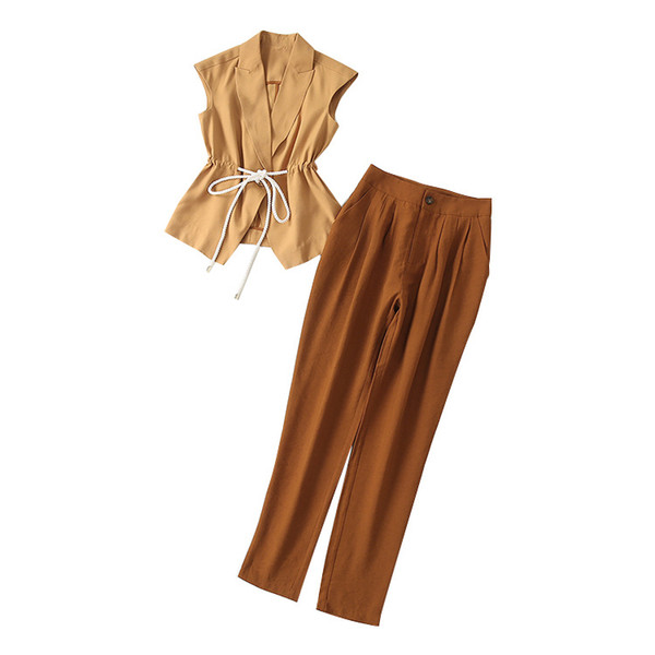 2019 Summer Fall Sleeveless Notched-Lapel Contrast Color Sash Vest + Pants Set Luxury Runway Two Piece 2 Pieces Twopiece Set MAY3110A5