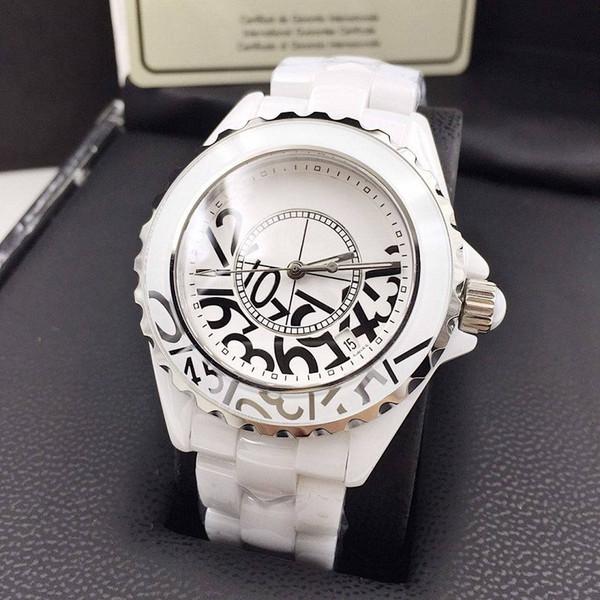 Luxury Lady Graffiti Watch White/Black Ceramic Sapphire Glass Mirror High Quality Quartz Fashion Womens Watch Watches