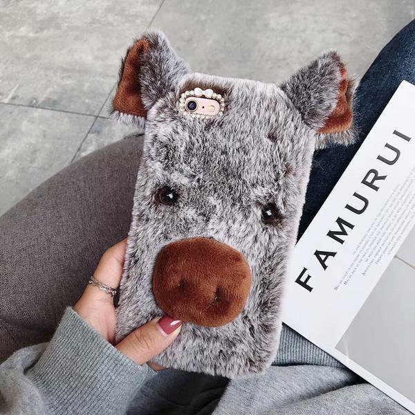 For iPhone XR XS MAX X 8 7 6 S10 S10e S9 3D Pig Genuine Hair Case Fluffy Fur Cover Soft TPU Gel Rabbit Fur Plush Cute Lovely Ear Fashion Bow