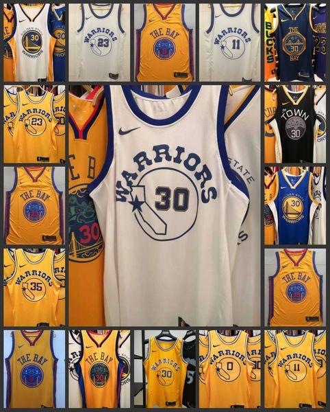 2020 Golden StateGuerriers Hommes 11 Thompson Stephen Curry Retro Blanc Swingman Basketball Jersey CityÉdition