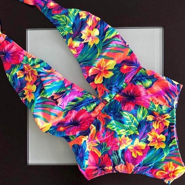 2018 One Piece Deep V Swimsuit Women Swimwear Bandage Halter Bathing Suit Beach Wear Summer Bodysuit Monokini Maillot De Bain Y19051801